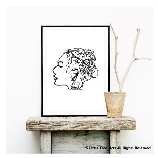 Affiche Portrait Femme Dessin Noir Et Blanc