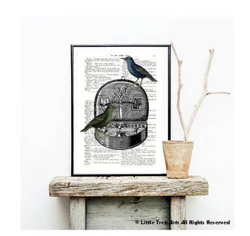 Art Print Book Page Box Sewing and Birds