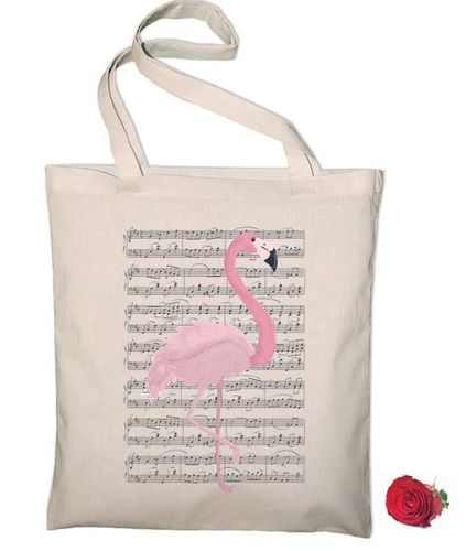 Sac Tote Bag Partition de Musique Flamand Rose