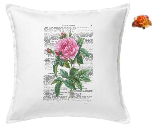 Cushion Cover Page of Rose Botanical Book